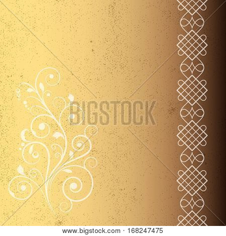Grunge background with vignettes and ornate border. Page or book cover decoration.