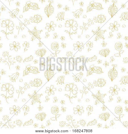 Seamless pattern with monochrome flowers and leaves, doodle. Transparent background. Swatch is included in vector file.