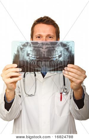 young caucasian doctor has fun with dental xray