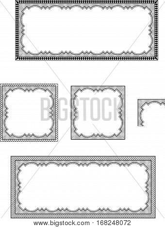 Set of ornate black frames, square and rectangular. Lattice pattern.