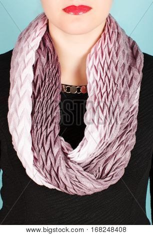 Grey Wool Scarf Around Her Neck Isolated On White Background.