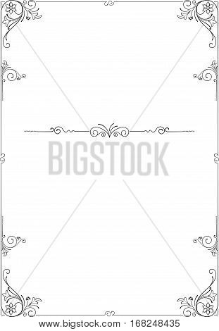 Ornate black rectangular frame. Decoration for card, certificate, advertisement. A4 page proportions.