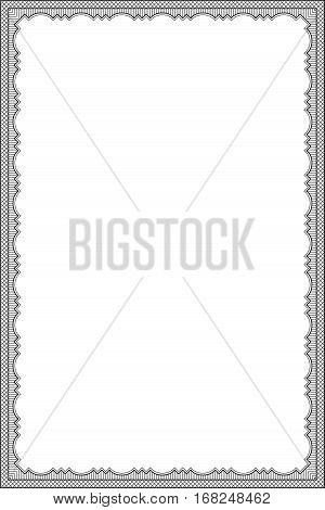 Ornate black rectangular frame, lattice pattern. Decoration for card, certificate, advertisement. A4 page proportions.