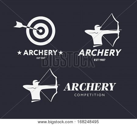 Abstract archery logo. Vector badge concept. Archer with sport bow and target with arrow. Archery competition