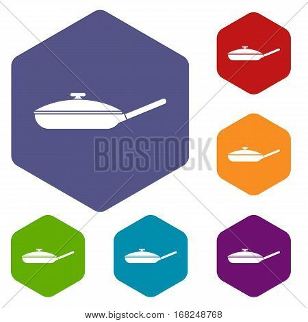 Black frying pan with white lid icons set rhombus in different colors isolated on white background