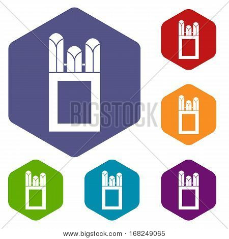 Chalks in carton box icons set rhombus in different colors isolated on white background