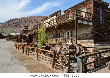 Calico, California, USA - July 1, 2015: The old wooden saloon in the ghost town of Calico