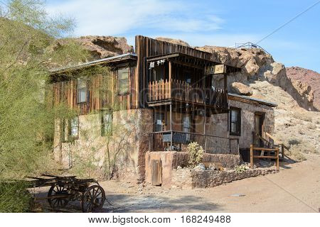 Calico, California, USA - July 1, 2015: The old wooden hotel in the ghost town of Calico
