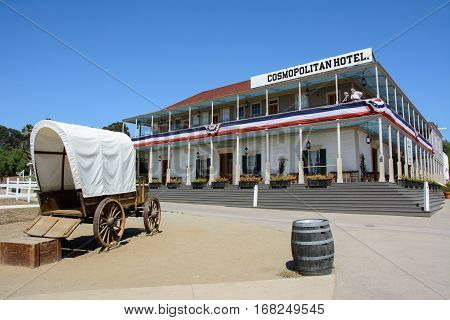 San Diego, California, USA - July 1, 2015: Old wooden hotel Cosmopolitan in the historic city of San Diego