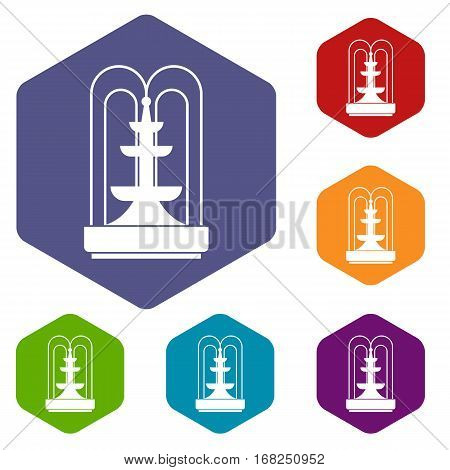 Fountain icons set rhombus in different colors isolated on white background