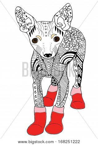 Toy terrier in red boots Hand drawn sketched vector illustration. Doodle graphic with ornate pattern.