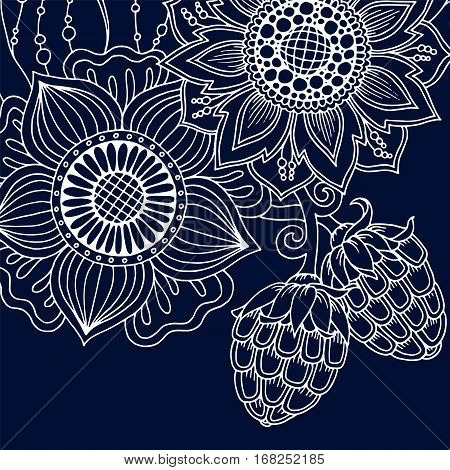 Mandala Floral Vector. Perfect card for any kind of design, birthday and other holiday, coloring book. Yoga, india, arabic, Islam, asian motifs. Monochrome blue background.