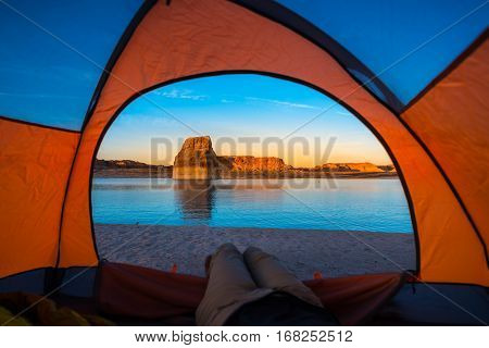 Relaxing In Tent Camping Lone Rock Lake Powell