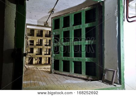 Big hermetic doors of an abandoned Soviet bomb shelter, an echo of the Cold War, Voronezh, Russia