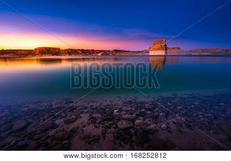 Lone Rock Beach At Sunset
