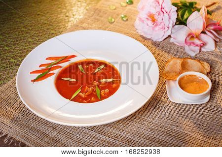 Traditional Tomato Soup With Croutons Bouillabaisse