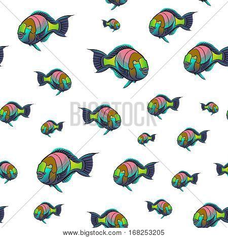 Scarus ferrugineus, Rusty parrotfish, Scarus fish in red sea illustration