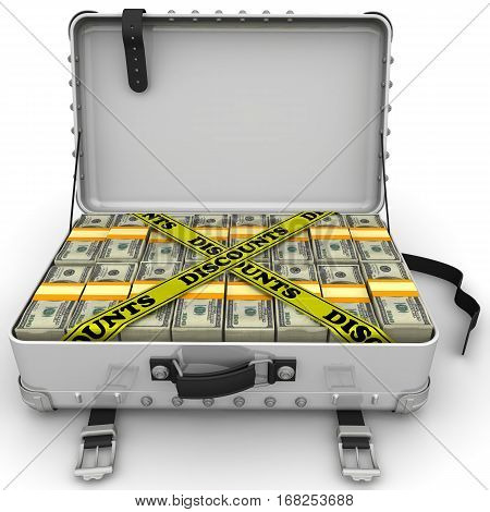 Discounts. A suitcase filled with bundles of US dollars and yellow tapes with text