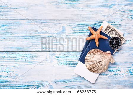 Travel Objects On Blue Wooden Background