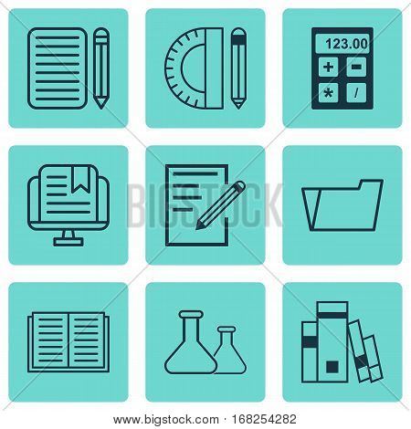 Set Of 9 Education Icons. Includes Document Case, Home Work, Education Tools And Other Symbols. Beautiful Design Elements.