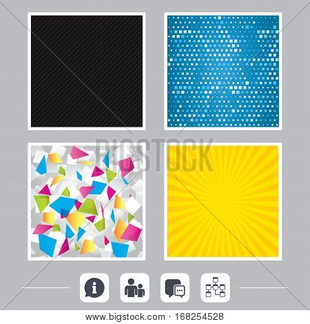 Carbon fiber texture. Yellow flare and abstract backgrounds. Information sign. Group of people and database symbols. Chat speech bubbles sign. Communication icons. Flat design web icons. Vector