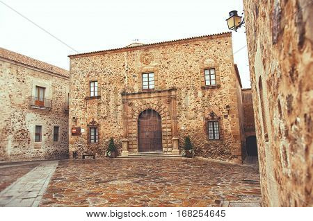 Episcopal palace in the square of Saint Mary in Caceres a capitol of province Caceres of western Spain