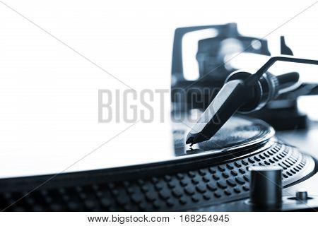 Dj Headshell On Spinning Record