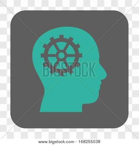 Intellect interface toolbar button. Vector icon style is a flat symbol in a rounded square button cyan and gray colors chess transparent background.