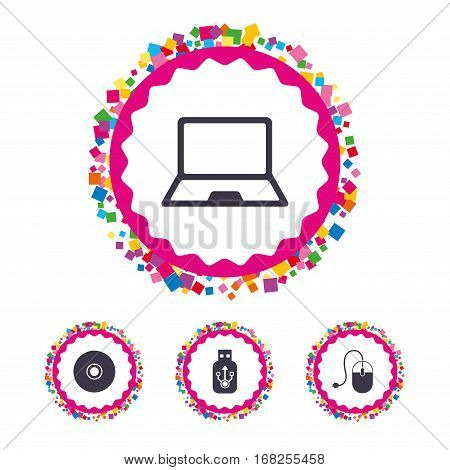 Web buttons with confetti pieces. Notebook pc and Usb flash drive stick icons. Computer mouse and CD or DVD sign symbols. Bright stylish design. Vector