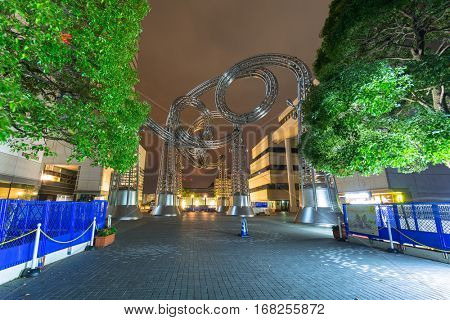 YOKOHAMA, JAPAN - NOVEMBER 6, 2016 : Metal Sculpture at Yokohama Landmark tower. Landmark Tower, located in the Minato Mirai 21 district of Yokohama city, is the second tallest building in Japan.