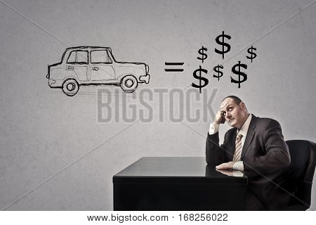Businesman thinking about selling his car
