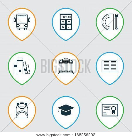 Set Of 9 Education Icons. Includes Opened Book, Haversack, College And Other Symbols. Beautiful Design Elements.