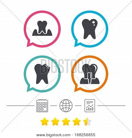 Dental care icons. Caries tooth sign. Tooth endosseous implant symbol. Parodontosis gingivitis sign. Calendar, internet globe and report linear icons. Star vote ranking. Vector