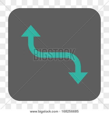 Opposite Bend Arrow interface toolbar button. Vector icon style is a flat symbol in a rounded square button cyan and gray colors chess transparent background.