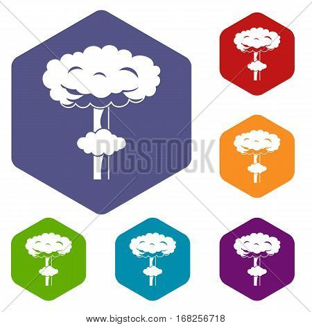Nuclear explosion icons set rhombus in different colors isolated on white background