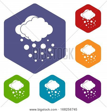 Cloud with hail icons set rhombus in different colors isolated on white background