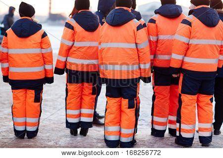 Emergency service group in uniform