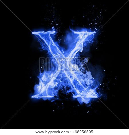 Fire letter X of burning blue flame. Flaming burn font or bonfire alphabet text with sizzling smoke and fiery or blazing shining heat effect. Incandescent cold fire glow on black background.