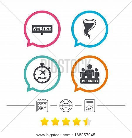 Strike icon. Storm bad weather and group of people signs. Delayed flight symbol. Calendar, internet globe and report linear icons. Star vote ranking. Vector