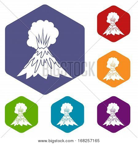 Volcano erupting icons set rhombus in different colors isolated on white background