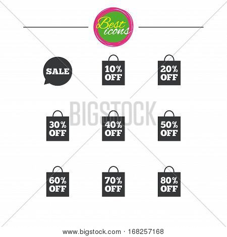 Sale discounts icons. Special offer signs. Shopping bag, price tag symbols. Classic simple flat icons. Vector