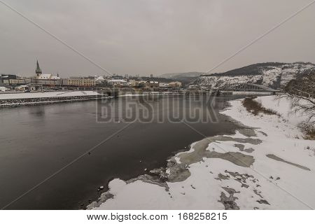 Winter and snow in Usti nad Labem city in north Bohemia