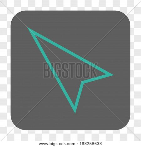 Pointer Left Up interface toolbar button. Vector icon style is a flat symbol on a rounded square button cyan and gray colors chess transparent background.