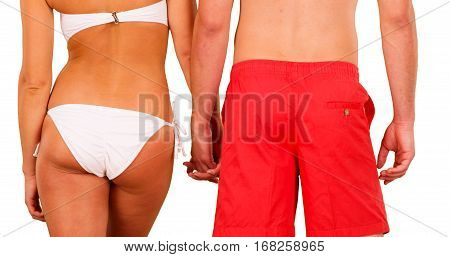 Rear View Of Young Couple Wearing Swim Suits And Standing In Front Of White Background