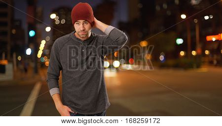 Sexy Urban Millennial Standing Next To Street At Night