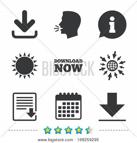 Download now icon. Upload file document symbol. Receive data from a remote storage signs. Information, go to web and calendar icons. Sun and loud speak symbol. Vector