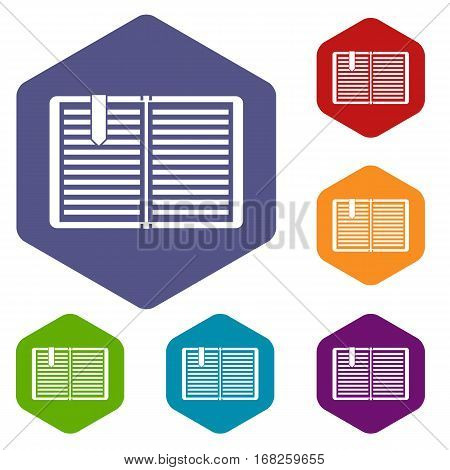 Open book with red bookmark icons set rhombus in different colors isolated on white background