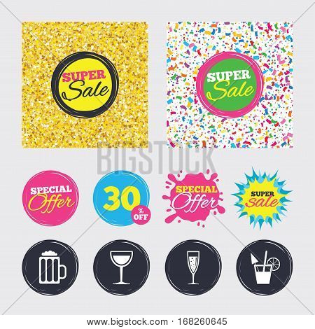 Gold glitter and confetti backgrounds. Covers, posters and flyers design. Alcoholic drinks icons. Champagne sparkling wine with bubbles and beer symbols. Wine glass and cocktail signs. Sale banners
