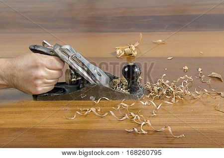 Hand Shaping Wood Close up