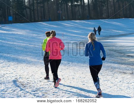 OLDENZAAL NETHERLANDS - JANUARY 22 2017: Unknown female athletics doing a cross run in a snow white landscape